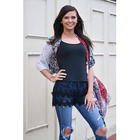 Black Cami Lace Tank / Shirt Extender with Adjustable Straps