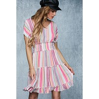 Shades of Sherbert Short Sleeve Dress - Pink