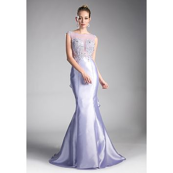 Lavender Mermaid Prom Gown Cut Out Back with Ruffles