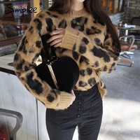 Sexy leopard knitted winter pullover sweater