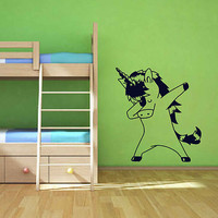dabbing unicorn Wall Decal unicorn Decal Wall Sticker Unicorn Wall Sticker Vinyl Decal Children Nursery Wall Decor ik3478