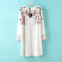 White Floral Embroidered Sleeve Shift Dress