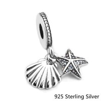 CKK Authentic 925 Sterling Silver Jewelry Tropical Starfish & Sea Shell, Frosty Mint Charms Beads Fits Pandora Bracelets