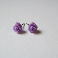 Tiny Purple Rose Stud Earrings Stainless Steel Posts Small and Pretty Gift idea