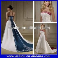 We-1871 Elegant Strapless Bi Color White And Navy Wedding Dress 2013 Hand Embroidery Designs Wedding Dresses - Buy White And Navy Wedding Dress,Hand Embroidery Designs Wedding Dresses,2013 Hand Embroidery Designs Wedding Dresses Product on Alibaba.com