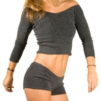 Low Rise Shorts & Ballet Neck Top by KD dance, Made In USA, Stretch Knit, High Quality Pro Dancewear, Fashionable, Sexy & Durable, Made In New York City USA