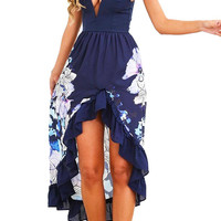 Navy Floral Ruffled Flamenco Cocktail Maxi Dress