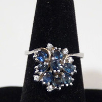 Blue Topaz Cubic Zirconia Sterling Silver Cocktail Ring