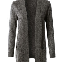 LE3NO Womens Open Front Knit Sweater Cardigan with Pockets (CLEARANCE)