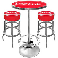 Trademark Global Coca Cola Ultimate Gameroom Combo - 2 Bar Stools & Table in Red | Wayfair