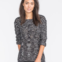 Poof Excellence Marled Cable Knit Sweater Black/White  In Sizes