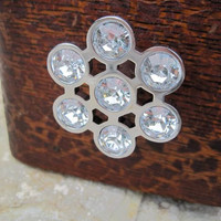 SALE Sparkly Metal Flower Knob with High Quality Acrylic Crystals