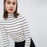 Mango striped high neck long sleeve top at asos.com