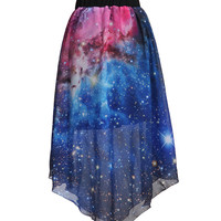 Purple Galaxy Print Chiffon Asymmetrical Pleated Mini Skirt