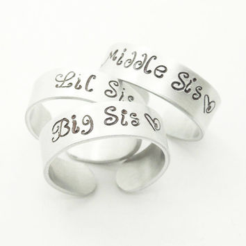 Sisters rings gifts for sisters big sis middle sis lil sis rings - 3 sisters - Three sisters rings - Sister jewelry