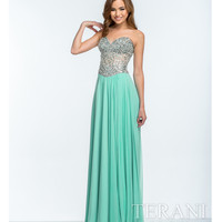 Mint & Nude Crystal Embellished Strapless Gown