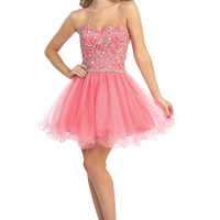 Strapless Beaded Short Tulle Prom Dress in Coral