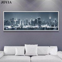 Home Decor City Night Wall Art Canvas New York Skyscrapers Skyline Cityscape Decoeative Wall Picture Living Office Decoration