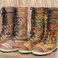 Laos Embroidered Womens Combat Boots Ethnic Mid Calf Lace Up Vegan Boho Boot 9