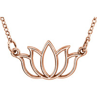 Tiny Lotus Blossom Necklace Pendant Flower Charm Necklace Dainty Necklace Pendant 14k Rose Gold Necklace Choker Necklace 18 Inch Chain