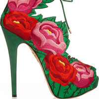 Charlotte Olympia - Hibiscus embroidered satin sandals