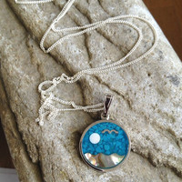Vintage Sterling Silver Turquoise Disc Necklace