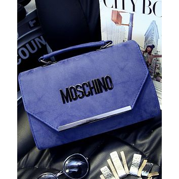 MOSCHINO 2018 new matte retro handbag shoulder diagonal female bag F0470-1 blue