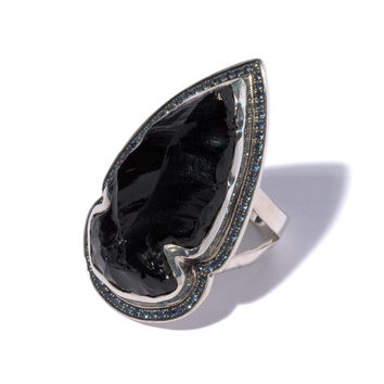 Obsidian Sapphire Ring 4 - Size 7.5