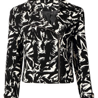 Black Leopard Print Zippered Jacket