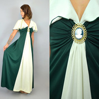 vintage 1960s DRAPED CAPE flutter sleeve MAXI dress w/ antique brooch, extra small-small