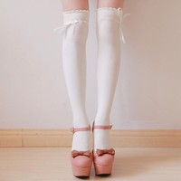 Pair of Stylish Bow Ribbon Embellished Solid Color Stockings For Women