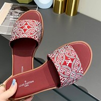 LV Louis Vuitton Canvas Embroidered Letters Ladies Casual Sandals Slippers Shoes Red