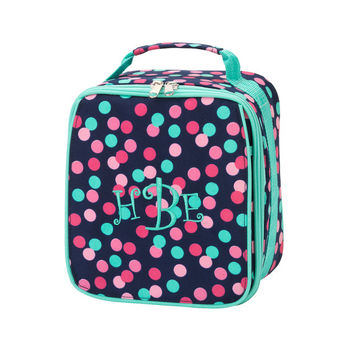 Monogrammed Lunchbox Lunchbag Confetti Dots Polkadots Insulated Cooler School Personalized