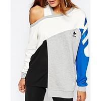 adidas Originals Longline Sweatshirt With Color Block & Cut Out Detail