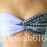 Lilac and Tribal Bandeau Top Spandex Bandeau Bikini (SKINNY BACK)