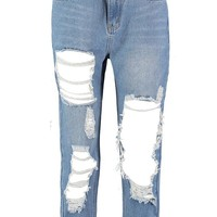 Janae Distressed Denim Mom Jean | Boohoo