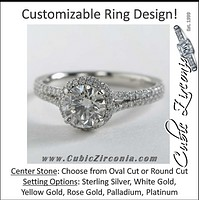 Cubic Zirconia Engagement Ring- The ________ Naming Rights 1560 (Customizable Halo with Split Band and Prong Accents)