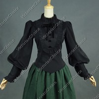 Victorian Edwardian Romantic Gothic Steampunk Black Penny Dreadful Blouse Shirt Top Theater Costume