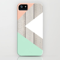 Modern Teal Peach Triangles Color Block on Wood iPhone & iPod Case by Girly Trend