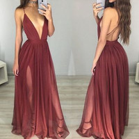 Spaghetti Straps Deep V-Neck Prom Dresses Evening Dresses