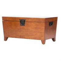 Wooden Lift Top Coffee Table Storage Trunk in Mission Oak Finish