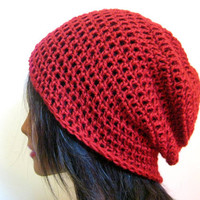 Slouchy Beanie Red Crochet Hipster Mens Womens Oversize Slouch Hat