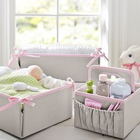 Pink Linen Canvas Nursery Storage | Pottery Barn Kids