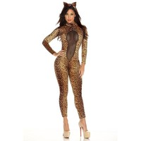 Patent leather sexy women wild cat Siamese cat girl cosplay Leopard Catwoman costume party [8978892167]