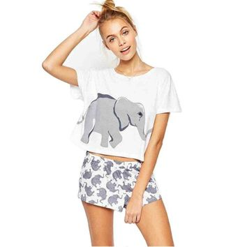 Tops Hot Sale Print Round-neck Short Sleeve Ladies T-shirts [11768168975]