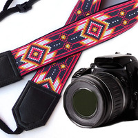 Native American Camera strap (inspired by).  Southwestern Ethnic Camera strap.  DSLR Camera Strap. Camera accessories.