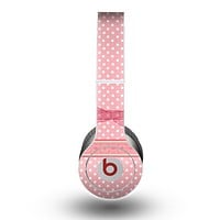 The Subtle Pink Polka Dot with Ribbon Skin for the Beats by Dre Original Solo-Solo HD Headphones