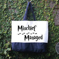 Mischief Managed Harry Potter Tote Bag, Handmade Bag, Harry potter Tote Bag, 100% cotton canvas, Canvas tote