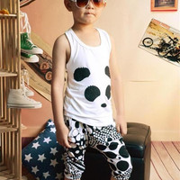 best qualtiy best price Girls&boy Set girl tshirt Panda Tank Tops +Harem Pants Childrens Outfits Kids Summer Clothes 8pcs=1lot D275