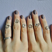 Set of Six midi knuckle rings, Sun, Moon, Star, Peace, Heart and Love